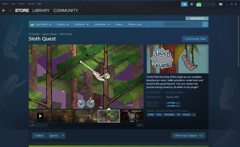 Sloth Quest Steam page